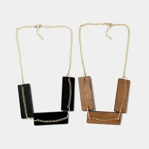 Wood Block Chain Necklace